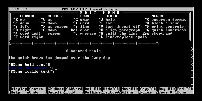 WordStar, the program George R.R. Martin uses for writing.