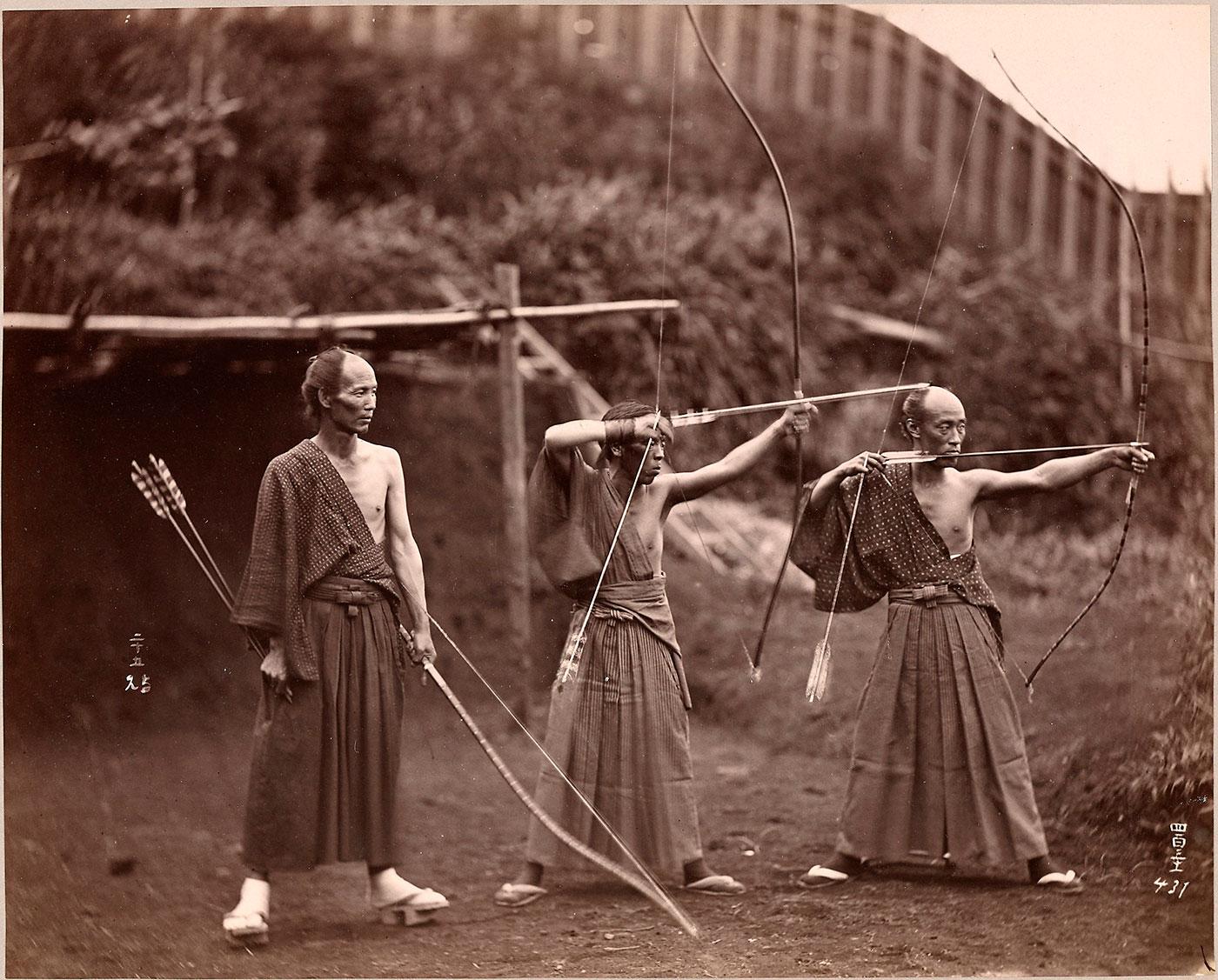 Japanese archers practicing Kyudo.